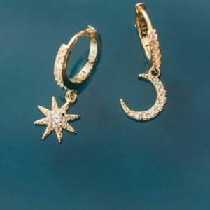 Gold Moon & Stars Earrings