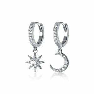 Silver Moon & Star Earrings