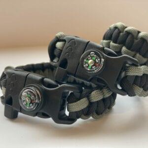 Black & Grey Paracord Survival Bracelet