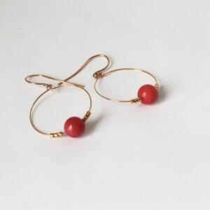 Red coral gold hoop earrings