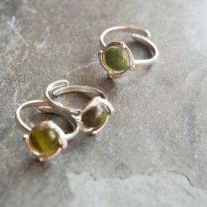 Connemara marble adjustable silver ring