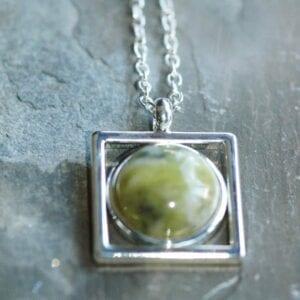 connemara marble pendant in square setting