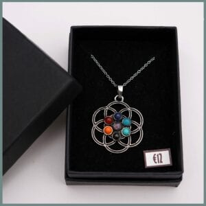 Flower-chakra-antique-silver-stainless-steel-chain