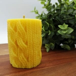 Knitted Wool Beeswax Pillar Candle