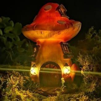 toadstool solar fairy house