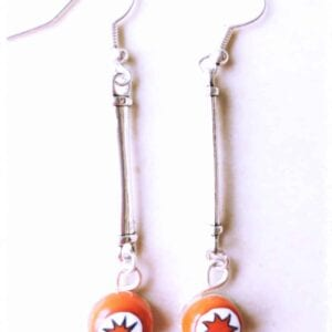Earrings -Red and White Mille Bar Drop