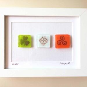 Glass Art Frame - Eire Tricolour Symbols