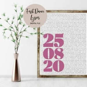 large date song lyric text print