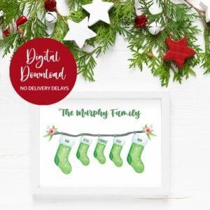 matching christmas stocking print