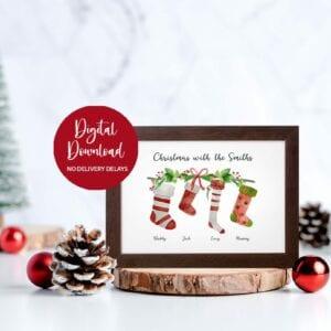 whimsical christmas stocking print