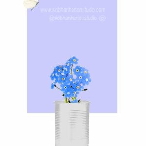 forget me nots in a can Periwinkle on flower butterfly on top small square SII