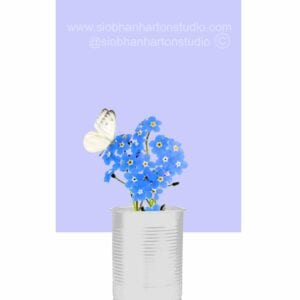 Forget me not periwinkle with white butterfly
