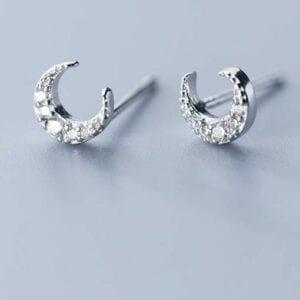 Silver Little Moon Earrings