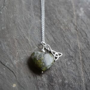 heart pendant with silver triskele