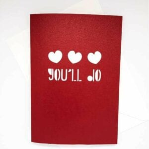 Valentine Papercut Card with 'You'll Do' sentiment.