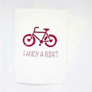 Valentine Papercut Card with 'fancy a ride?' sentiment.