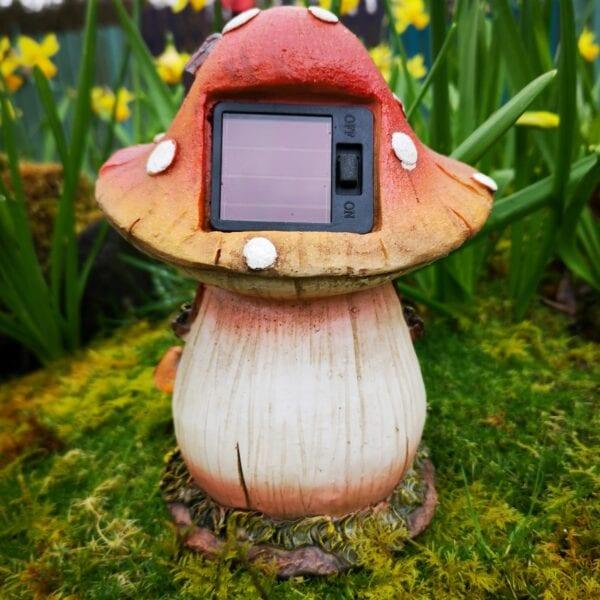 solar powered toadstool fairy house