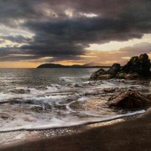 The evening shoreline