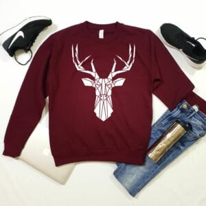 Maroon white stag sweater by stencilize