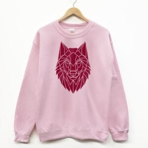Pink and burgundy wolf crew neck sweater