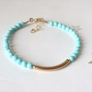 Turquoise gold bar bracelet