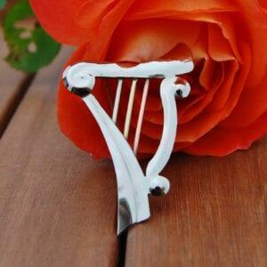 Mixed metal harp brooch