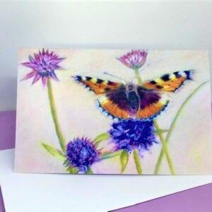 Small Tortoiseshell butterfly card