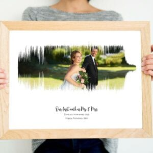 A made-to-order photo soundwave print is a unique personalised gift.