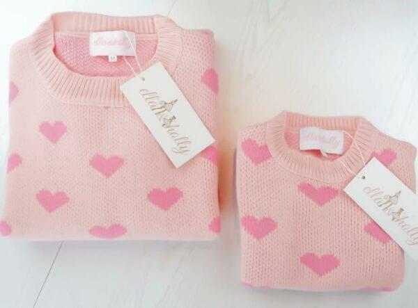 Pink Heart Matching Jumper