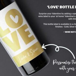 Personalised valentine gift wine label