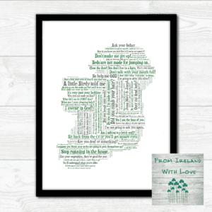 Irish Mammy Sayings Map of Ireland Print Irl
