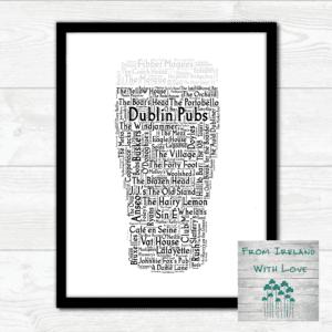 Pint of Dublin Pubs Wall Art Print IRL