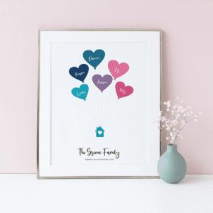 Family print, heart balloons, floating house