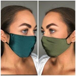 100% silk reversible green mask-adjustable strap
