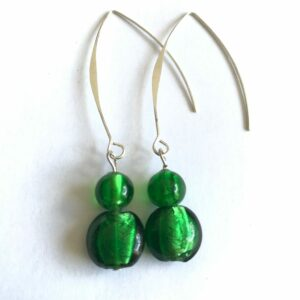 Handcrafted Green Silver Foil Glass V Earrings - Free Delivery