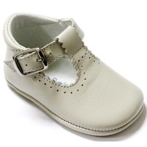 Beige-Leather-T-Bar -Pre-Walker-Baby-Shoe