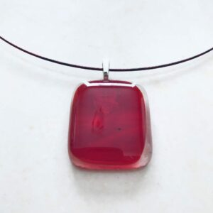 CH528 Red Square Glass Mini Pendant on Choker