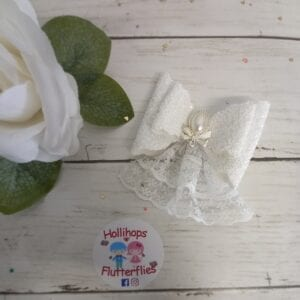 First Holy Communion Dbl Pearl Lace Bow
