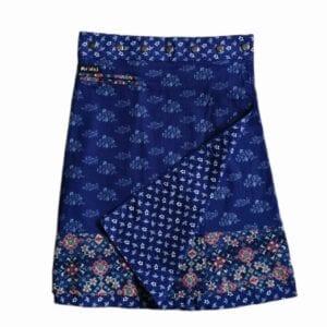 Moshiki Adults Summer Cotton Navy & White Reversible Long Skirt 2