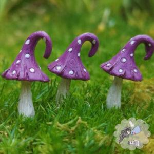 purple fairy garden toadstools