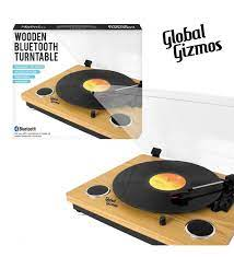 Global Gizmos Wooden Bluetooth Turntable