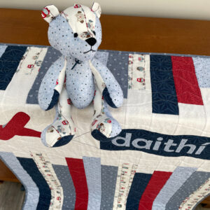 Blueshades cot quilt and patchwork bear