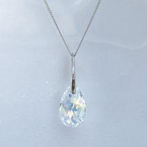Rhodium-plated-Silver-Necklace-Large-Pear-shaped-Crystal-AB-Swarovski-crystal