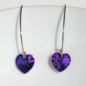 Earwire-Marquise-White-rhodium-plated-Sterling-Silver-10mm-Heliotrope-Purple-Swarovski-heart-Retha-Designs