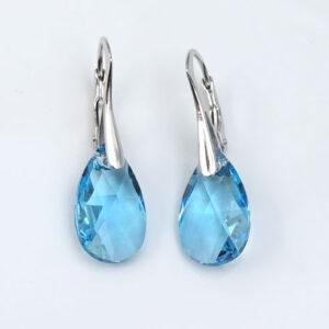 Silver-earrings-16mm-Aquamarine-Pear-drop-Swarovski-crystals