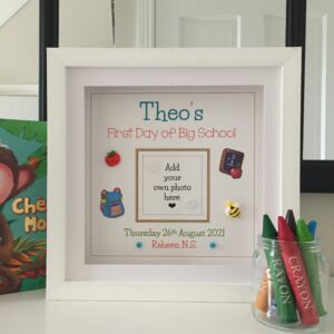 First day of scholl As Cute as a Button Personalised Framed Prints