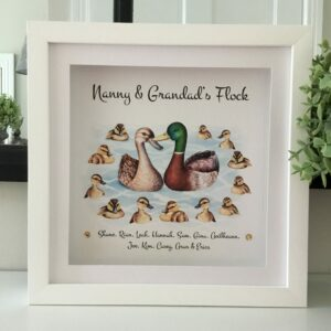Family Ducks personaised framed print As Cute as a Button Personalised Framed Prints