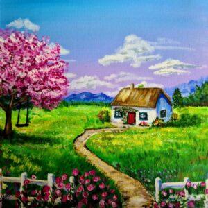 old irish cottage, pink roses