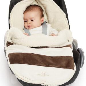 wallaboo newborn footmuff brown stripes