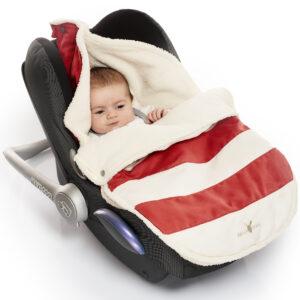 wallaboo newborn footmuff red stripes